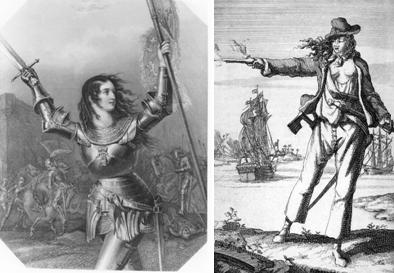 Artist's renderings of General Joan of Arc and the 18th century Scourge of the Seas, Anne Bonny. Betcha they didn't really look like this